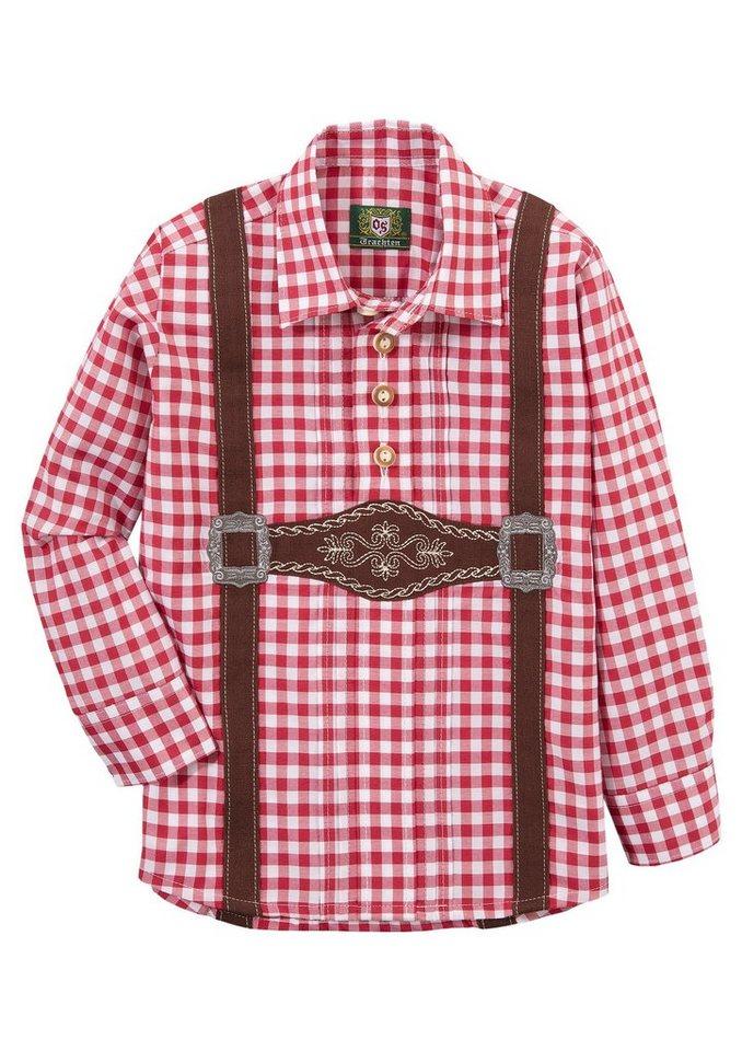 Herren,  Kinder OS-Trachten Trachtenhemd Kinder mit aufgenähtem Hosenträger rot | 04062143123318