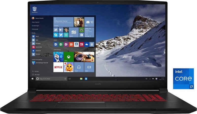 MSI Katana GF76 11UE-058 Gaming-Notebook (43,9 cm/17,3 Zoll, Intel Core i7 11800H, GeForce RTX™ 3060, 1000 GB SSD, Kostenloses Upgrade auf Windows 11, sobald verfügbar)