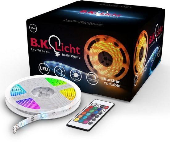 B.K.Licht LED-Streifen »Lucilla«, 300-flammig, 10m LED Stripe Band dimmbar RGB mit Fernbedienung