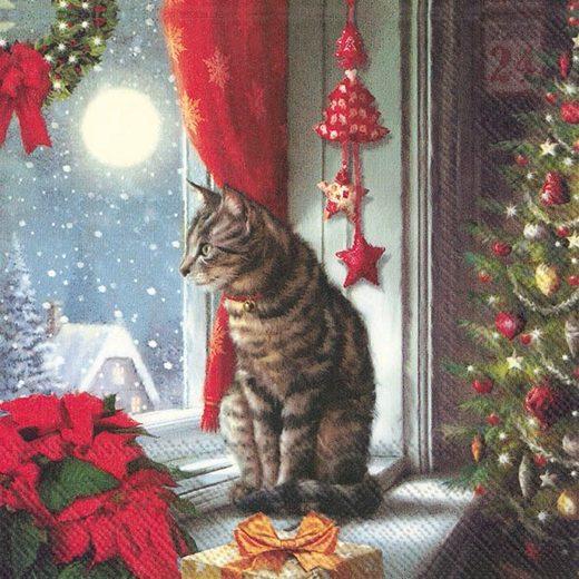 IHR Serviette 'Katze am Fenster'