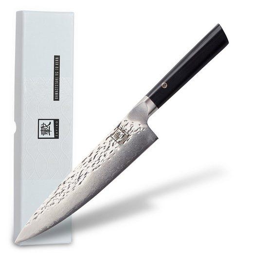 """ZAYIKO Damastmesser »Damastmesser """"KURO Chefmesser"""" - 20,3cm Klinge - Griff: Pakkaholz - VG-10 Stahlkern«"""