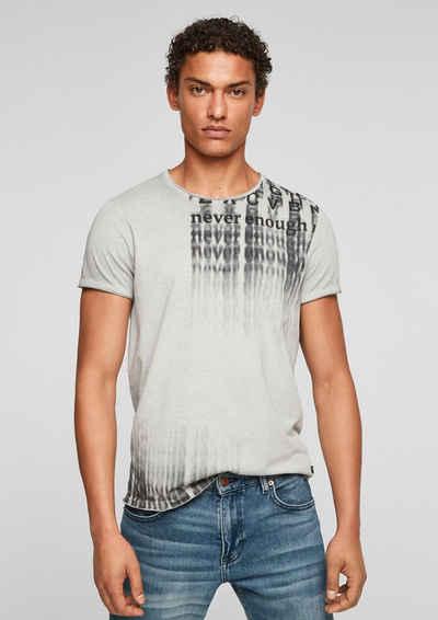 Q/S by s.Oliver Kurzarmshirt »T-Shirt mit offenen Kanten« (1-tlg) Rollsaumblende