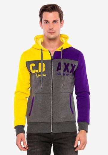 Cipo & Baxx Sweatjacke »C.Baxx« im Color-Blocking-Style