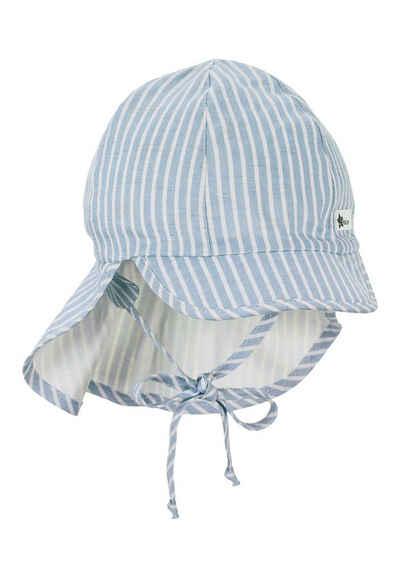 Sterntaler® Schirmmütze »Schirmmütze mit Nackenschutz« (1-St) mit Bio-Baumwolle; mit Nackenschutz, Ohrenklappen und Bindeband; gefüttert mit Bio-Batist