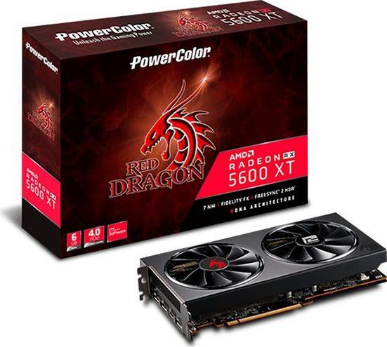 PowerColor »Red Dragon RX 5600XT« Grafikkarte (6 GB, GDDR6, metal backplate;Dual BIOS;dual 100mm fan drive)
