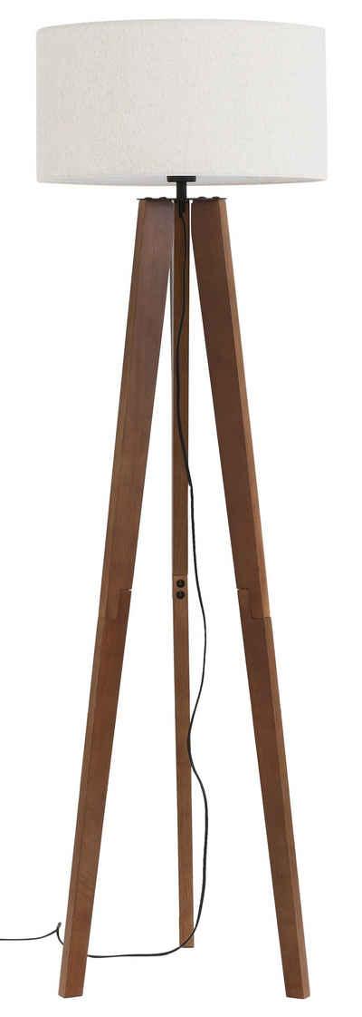 Home affaire Stehlampe »Davos«, Stehleuchte mit massivem Holz Dreibein und Leinenschirm / Stoff - Schirm Ø 45 cm, Höhe 149 cm