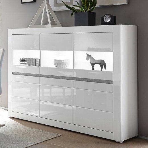 Lomadox Buffet »COGO-61« Vitrinen-Highboard in weiß Hochglanz inkl. LED und mit Griffmulden in Betonoptik BxHxT: 164x131x42cm