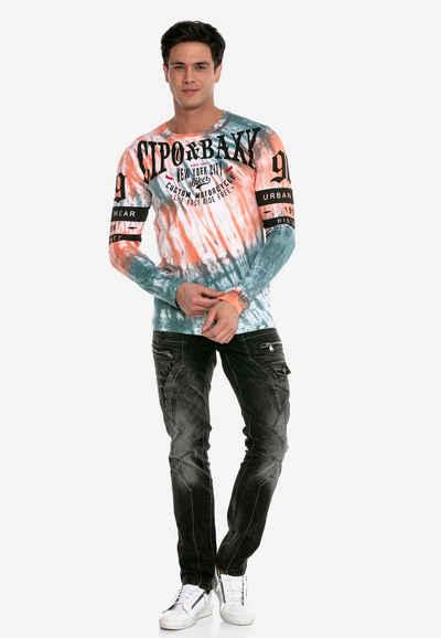 Cipo & Baxx Langarmshirt in tollem Batik-Design