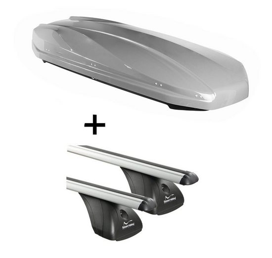 VDP Fahrradträger, DACHBOX STRIKE 440 Liter grau + Dachträger Original kompatibel mit Peugeot 308 3-5 Türer 2007-2013