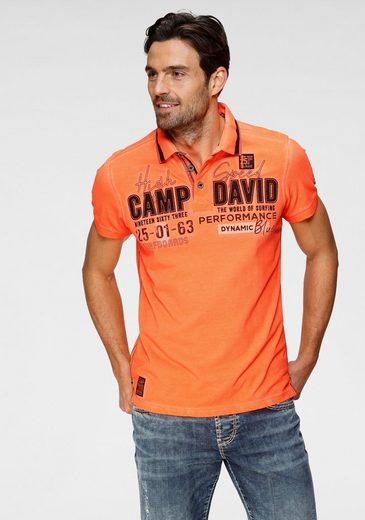 CAMP DAVID Poloshirt mit Logrofrontprint