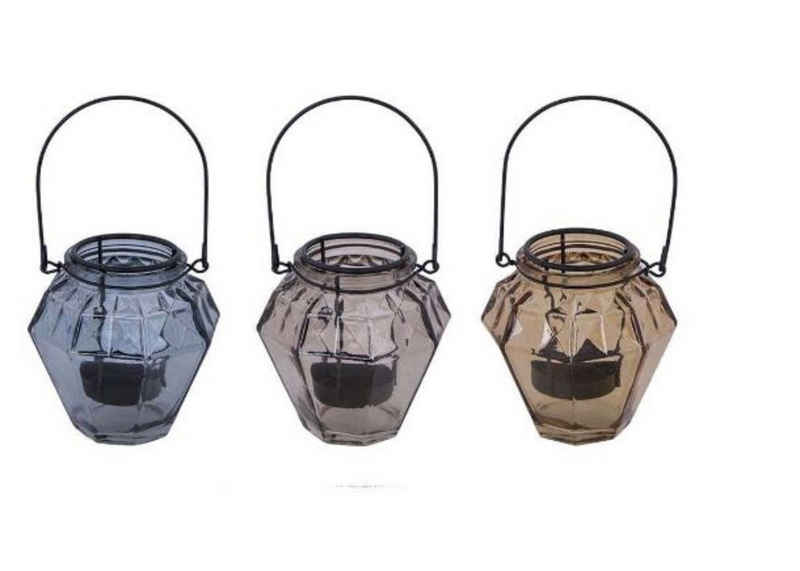 Cosy Home Ideas Teelichthalter »Teelichthalter 3tlg. Set 3 Farben Glas mit Einsatz Windlichter« (Set, 3-er Set Windlichter), 3 Farben, mit herausnehmbarem Metalleinsatz