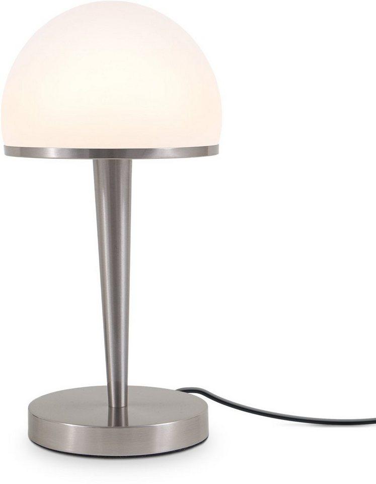 B.K.Licht I Tischlampe mit Glasschirm I Bauhaus-Stil I Dimmbar I 4-Stufen Touchdimmer I E14 I Opalglas I ohne Leuchtmittel
