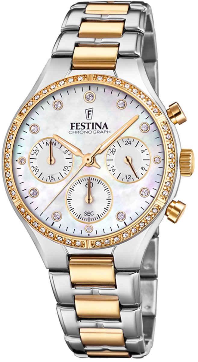 Festina Chronograph »UF20402/1 Festina Damen Uhr F20402/1 Edelstahl«, (Chronograph), Damen Armbanduhr rund, Edelstahlarmband silber, gold