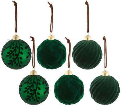 Weihnachtsbaumkugel (6 Stück), mit Samtdekoration