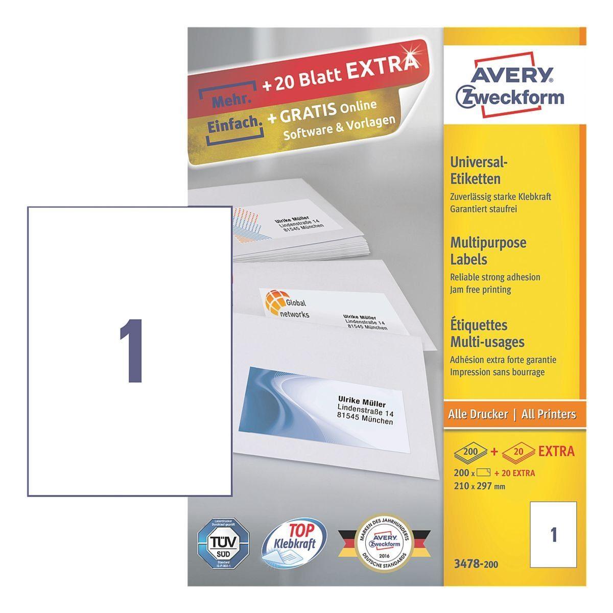Avery Zweckform 220er-Pack Universal Klebeetiketten »3478-200«