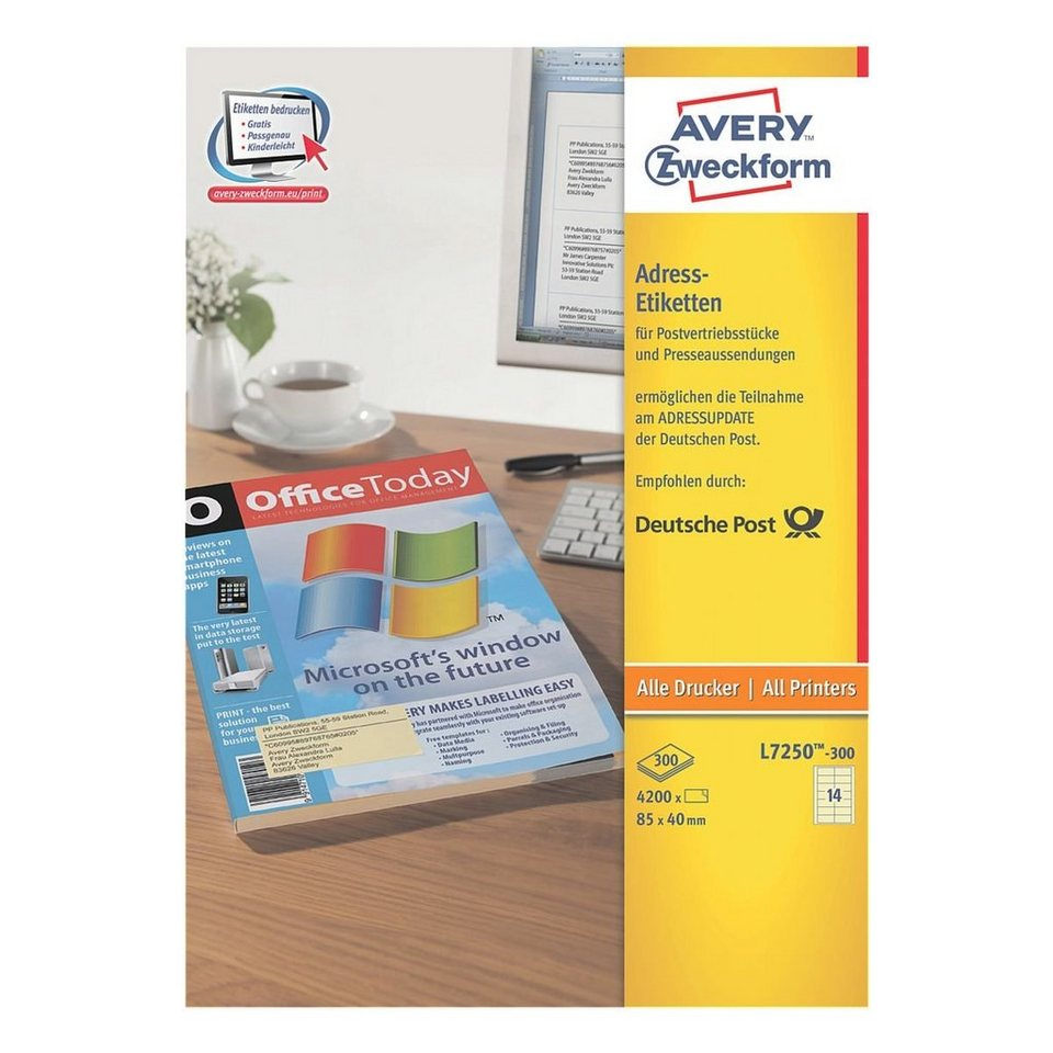 Avery Zweckform 4200er-Pack Adressaufkleber »L7250-300«, gelb