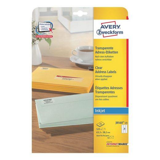ZWECKFORMAVERY 525er-Pack Folien-Etiketten »J8560-25«