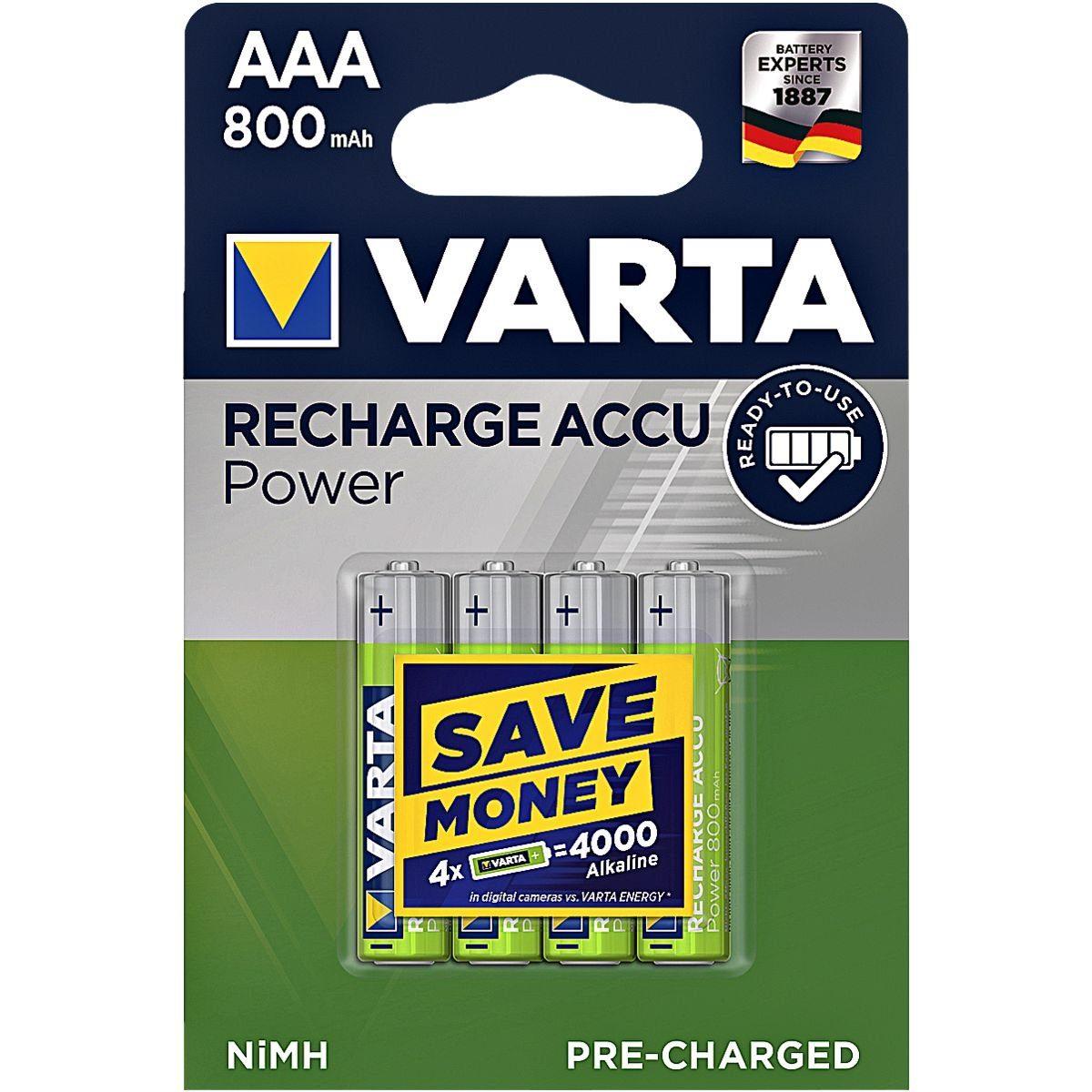 VARTA Akkus Micro / AAA / HR03 »RECHARGE ACCU Power«