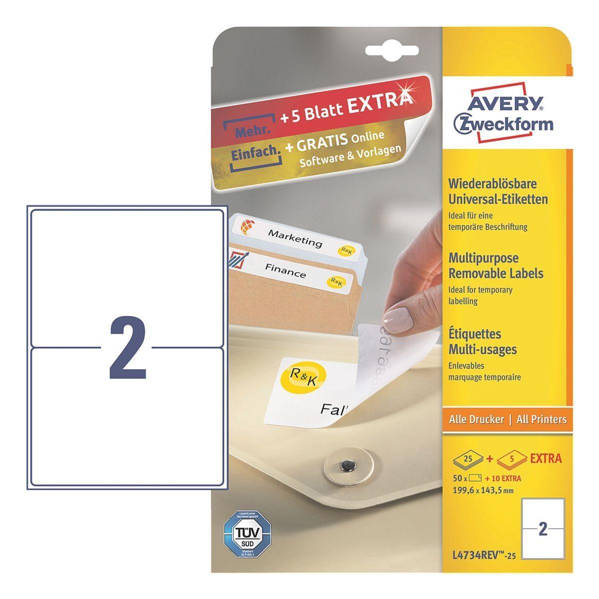 Avery Zweckform 50er-Pack Universal Klebeetiketten »L4734REV-25«