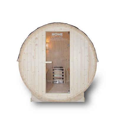 HOME DELUXE Fasssauna »Lahti«, Holz: Fichtenholz - Maße: BxTxH: ca. 185 cm x 120 cm x 185 cm - inkl. komplettem Zubehör, Gartensauna, Außensauna, Sauna