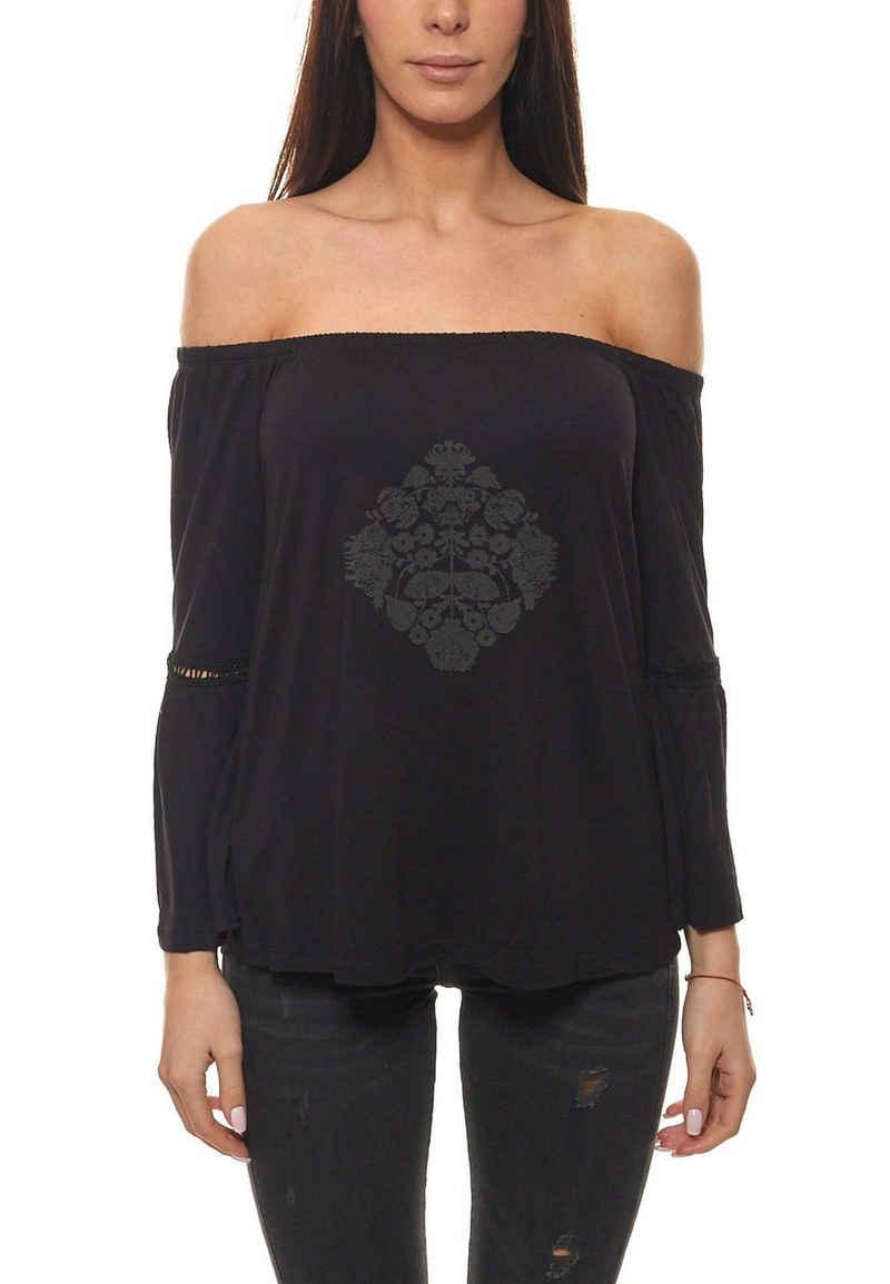 Buffalo Carmenshirt »Buffalo Strand-Shirt schönes Damen Carmen-Shirt mit Volant-Ärmeln Sommer-Shirt Schwarz«