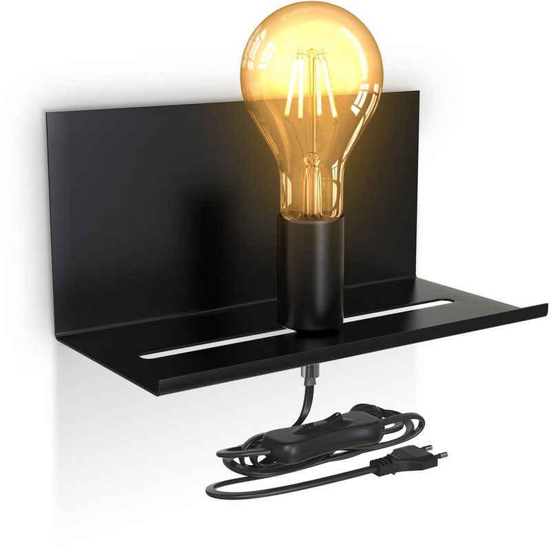 B.K.Licht Wandleuchte, Verstellbare Wandlampe mit Ablage, Kabelschalter, Schwarz, 1-flammig, E27, Retro Wandlampe