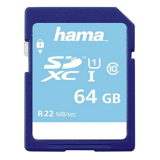 Hama SDXC Speicherkarte 64GB, Class 10 UHS-I 22MB/s »für HD-Videoaufnahmen geeignet«