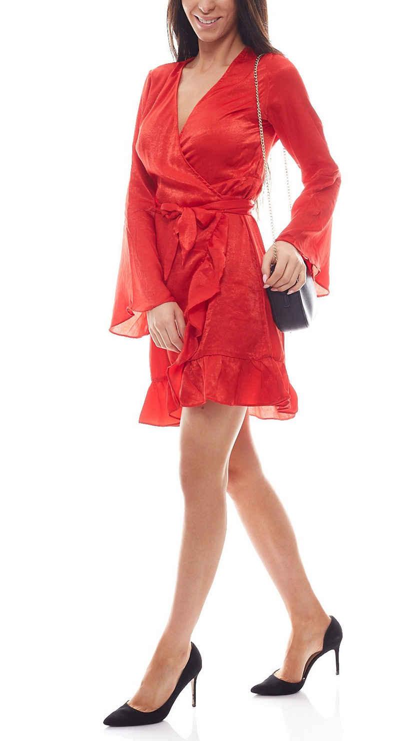 NA-KD Sommerkleid »NA-KD x Qontrast Wickel-Kleid verführerisches Damen Satin-Kleid Freizeit-Kleid Rot«