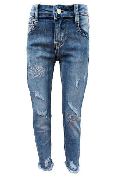 Family Trends Slim-fit-Jeans mit ausgefranstem Saum