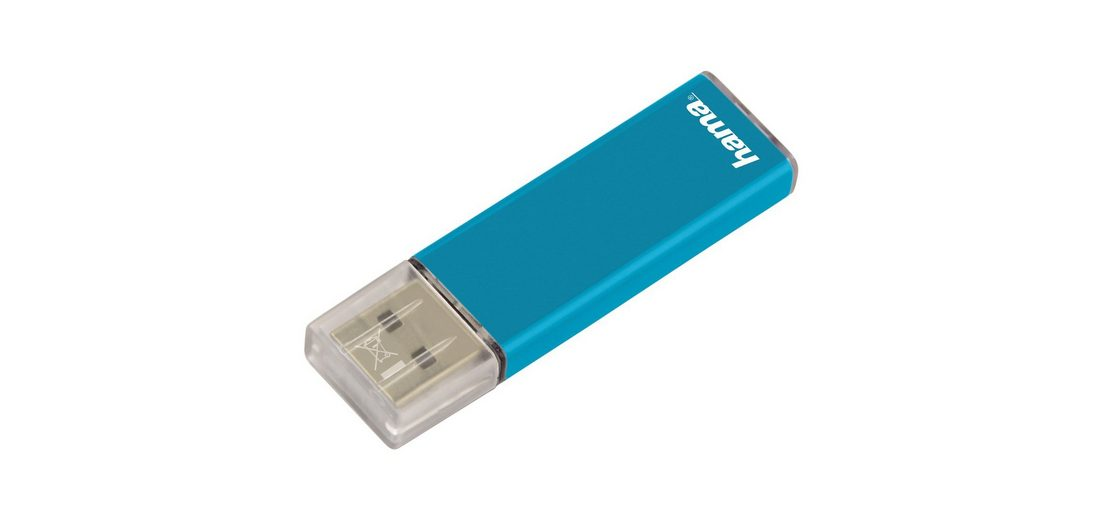 Hama USB Stick 16 GB, USB 2.0, 25MB/s, Speicherstick Türkis »FlashPen mit Verschlusskappe«