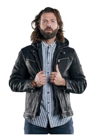 Куртка кожаная с съемный капюшон