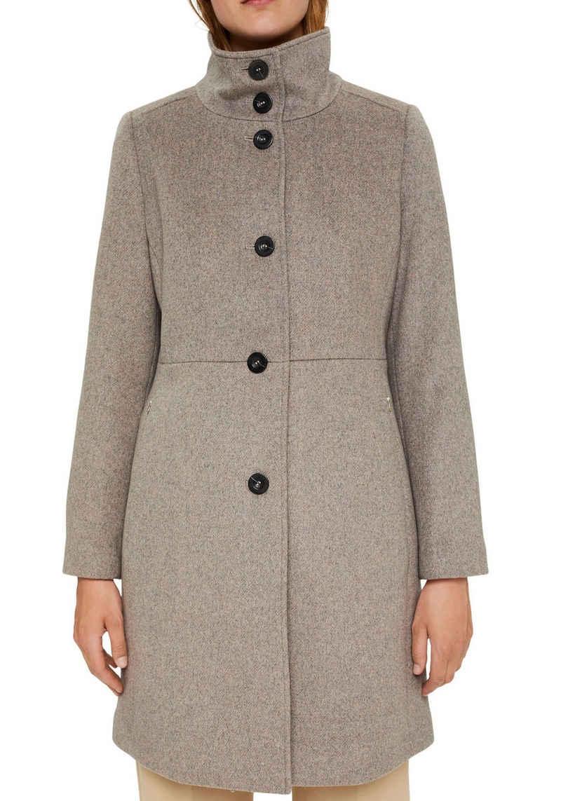 Esprit Collection Wollmantel mit hochverschließbarem Stehkragen