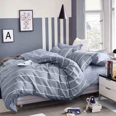 Bettwäsche »STRIPE«, KEAYOO, 100% Baumwolle, Mit Reißverschluss, Grau Weiß Gestreift