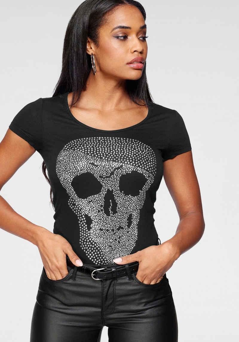 Melrose Rundhalsshirt mit Glitzersteinen im Totenkopf-Design