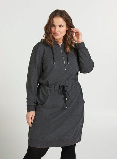 Zizzi Sweatkleid Große Größen Damen Sweatkleid mit Kapuze, Reissverschluss und Tasche