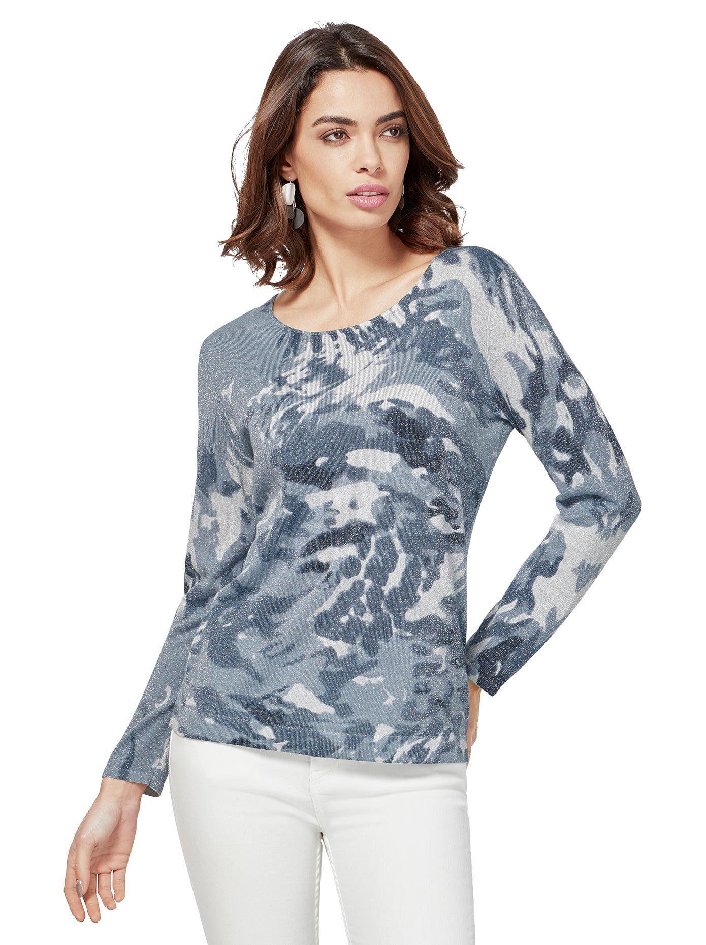 Classic Inspirationen création L Pullover im Camouflage Muster, Pullover mit Glanzgarnen online kaufen   OTTO