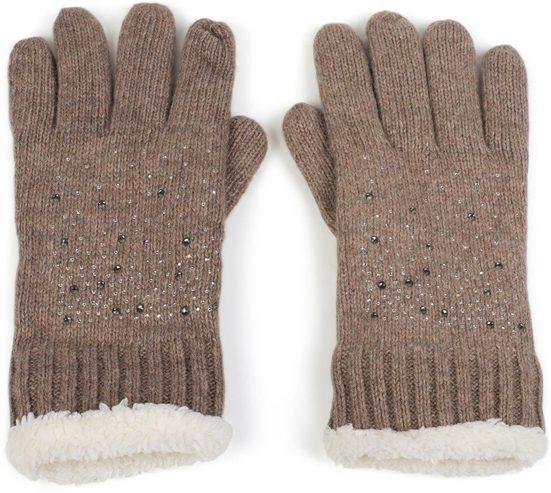 styleBREAKER Strickhandschuhe Strickhandschuhe mit Strass und Fleece