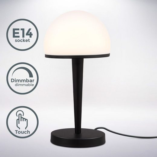 B.K.Licht Tischleuchte, Tischlampe mit Glasschirm, Dimmbar, Touchdimmer, E14 Fassung, Opalglas, Nachttischlampe, Schreibtischlampe, Ohne Leuchtmittel