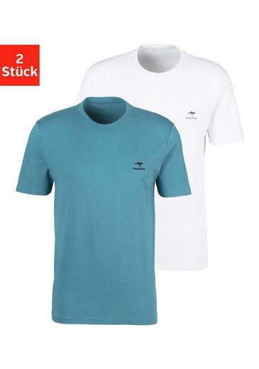KangaROOS T-Shirt (2er-Pack) mit kleinem Logodruck
