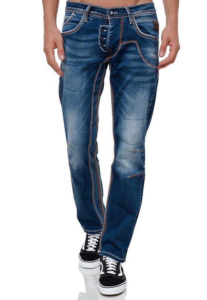 rusty neal -  Straight-Jeans »RUBEN 43« mit auffälligen Ziernähten