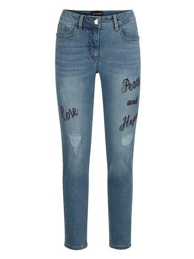 Amy Vermont 7/8-Jeans mit Stickerei und Strasssteindekoration