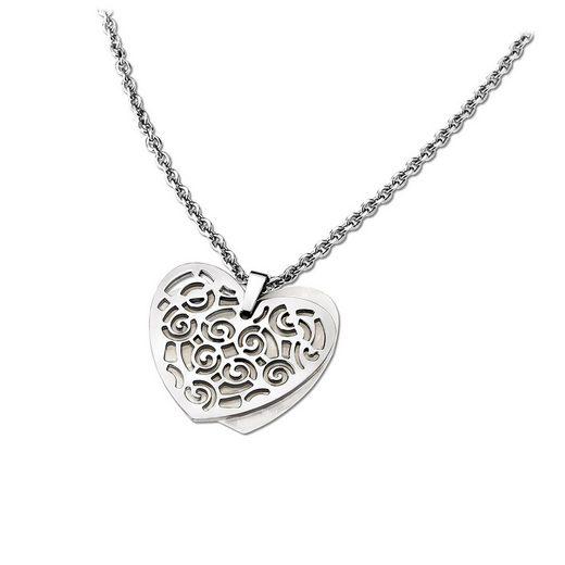 Lotus Style Kette mit Anhänger »JLS1602-1-1 LotusStyle Herz Halskette silberfarben« (Halsketten), Halsketten für Damen Edelstahl (Stainless Steel)