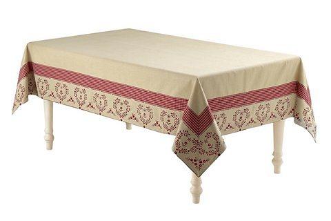 Tischdecke in beige/rot
