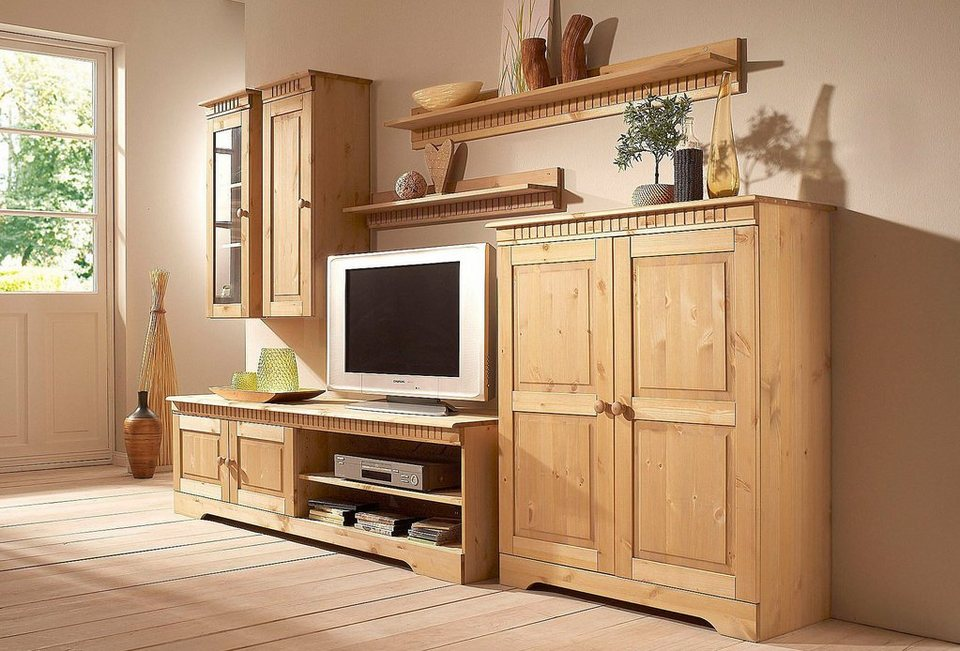 wohnwand 2 teilig wohnwand vintage teilig birke massiv holz moebel schrank wand bcherregal with. Black Bedroom Furniture Sets. Home Design Ideas
