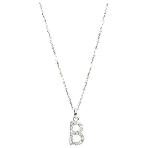 Smart Jewel Kette mit Anhänger »Buchstabe B mit Zirkonia Steine, Silber 925«