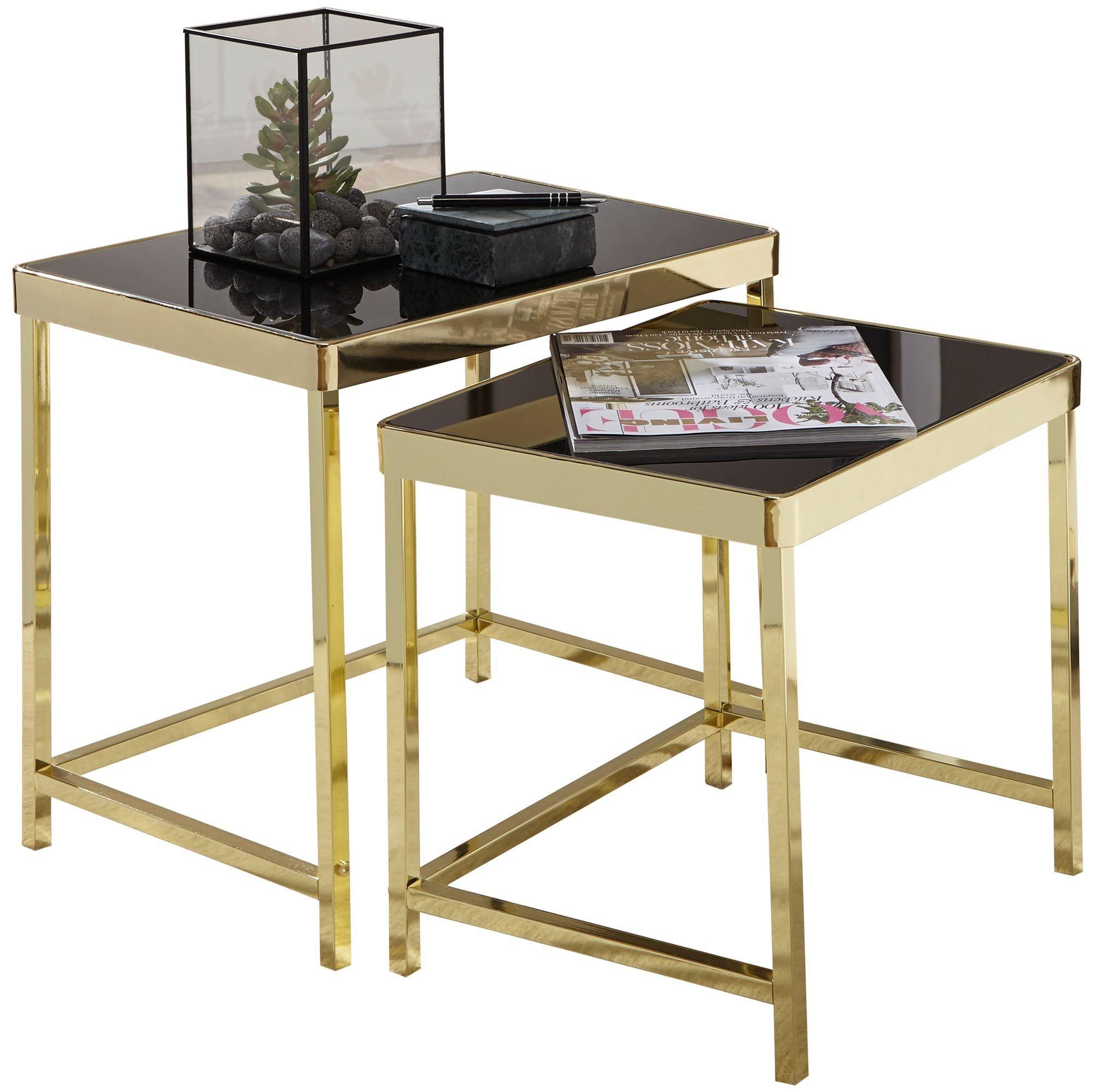 Satztisch »WL5.778«, VIOLA Schwarz / Gold Beistelltisch Metall/Glas Couchtisch Set aus 2 Tischen Kleiner Wohnzimmertisch Metalltisch mit