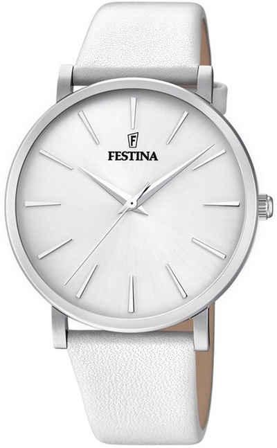 Festina Quarzuhr »UF20371/1 Festina Damen Uhr Elegant F20371/1 Leder«, (Analoguhr), Damen Armbanduhr rund, Lederarmband weiß