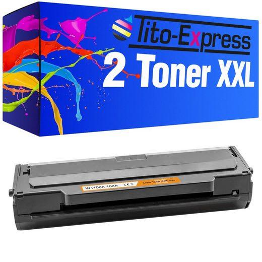 Tito-Express PlatinumSerie Tonerpatrone »2er Set Toner mit Chip ersetzt HP W1106A W1106 A W 1106A 106A 106 A«