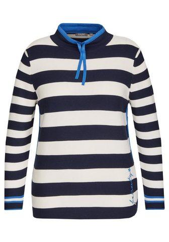 Пуловер с Ringeln и боковой Zierpaspel...