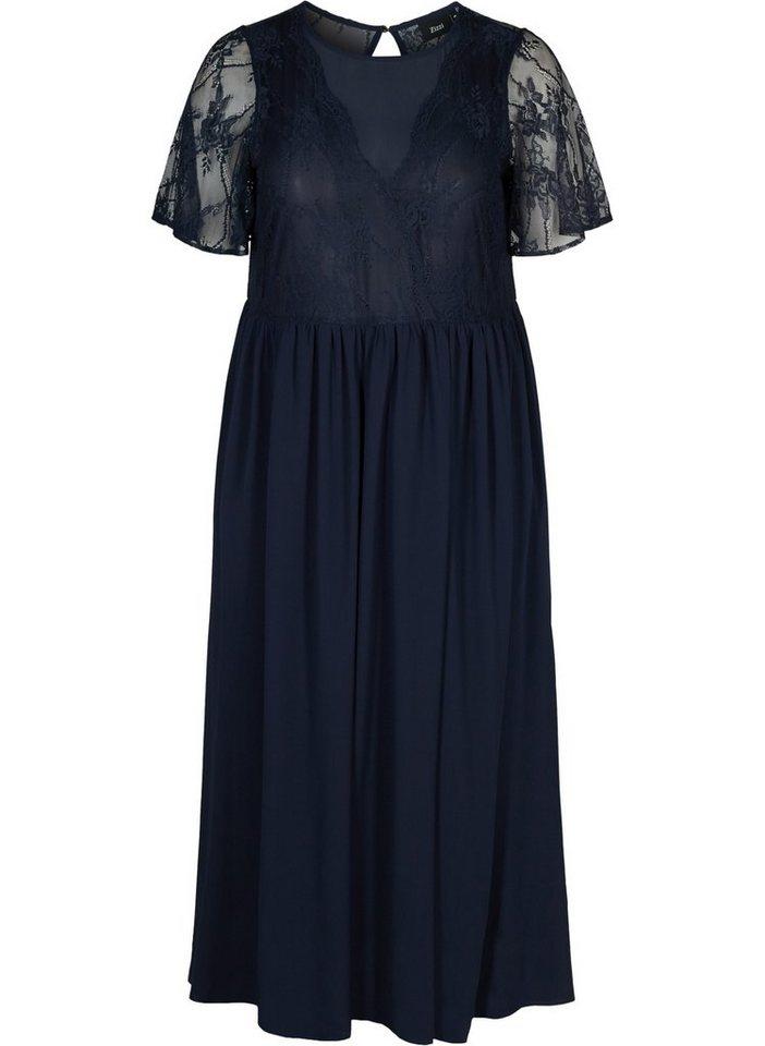 Festtagsmode - Zizzi Abendkleid Große Größen Damen Kurzarm Kleid mit Spitze und Rundhals ›  - Onlineshop OTTO